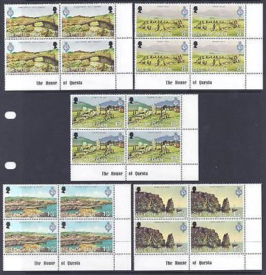 Gb, Isle Of Man, 1980, Royal Geographical, Sg 165-69, In Mnh Blocks 4, Cat £4.60