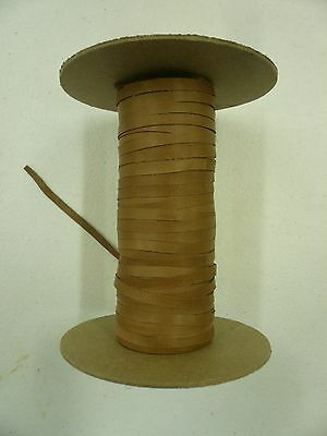 "Roll of lambskin leather cord laces belt width 1/4"" Vintage Brown Camel - 1 Yard"