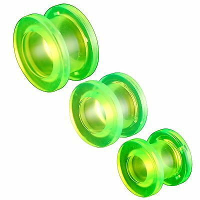 "tunnel set 0g 8mm 00g 10mm 1/2"" 12mm Green flesh ear plug stretcher 3 Pairs 9JLZ"