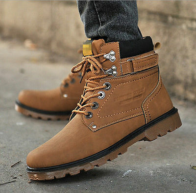 Men winter warm casual real Leather High Top Loafers Shoes Ankle Boots Sneakers