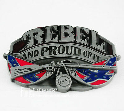 Rebel And Proud Of It Cowboy Rifle Confederate Dixie Flag Mens Boys Belt Buckle