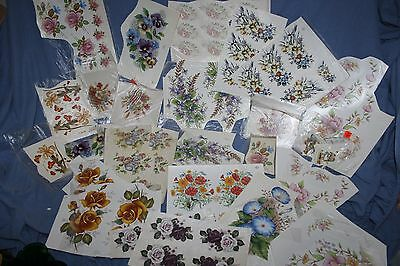 Large Lot of Vintage Water Mount Decals for Ceramics, Flowers, Zodiac, Butterfly