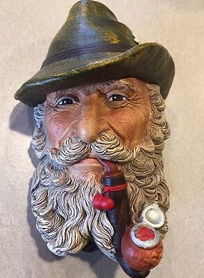 Vintage Bossons England Chalkware TYROLEAN Head Man with pipe 1972
