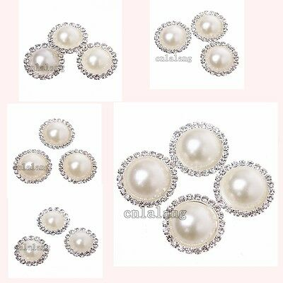 Silver Plated White Pearls Rhinestone Alloy Round Embellishments Make Crafts C