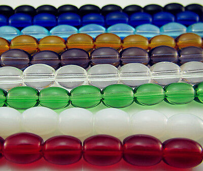 Free TOP 100PCS Czech Glass Mixed color Oval Spacer Findings Loose beads 8mm