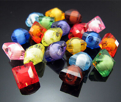 Free TOP 100PCS Mixed color Square Cut Acrylic Rondelly spacer Loose beads 8mm