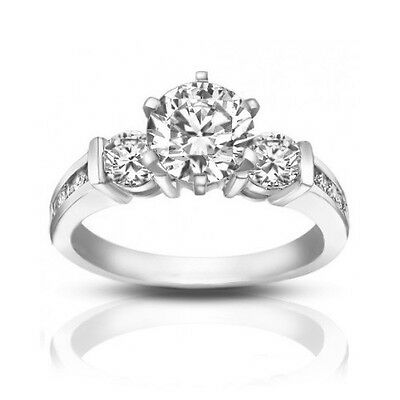 1.74 ct Ladies Round Cut Diamond Engagement Ring in Channel Setting In Platinum