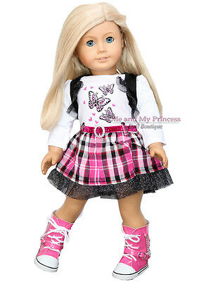 """BUTTERFLY HEART PLAID DRESS + P BOOTS - clothes fits 18"""" American Girl Doll Only"""