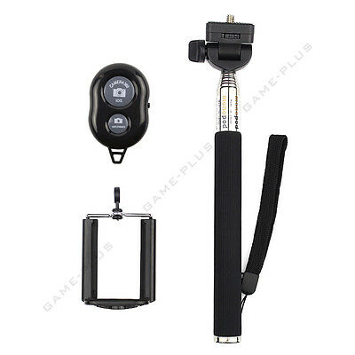 Black Selfie Monopod + Wireless Bluetooth Shutter + Phone Clip for iOS Android