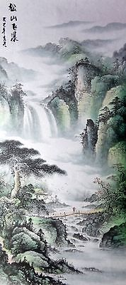 """Stunning Watercolor""""19wx37h""""signed famous painting-waterfall,beautiful landscape"""