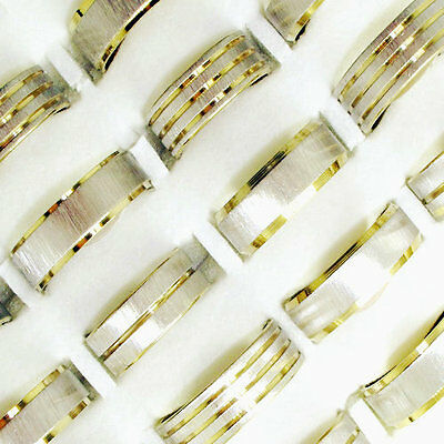 Freeshipping Wholesale jewelry lots 10pcs stainless steel Gold lines rings BY23