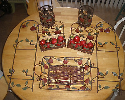 LOT OF 7 - APPLE THEMED - WICKER AND WIRE DECORATIVE MATCHING SET (SEE BELOW )
