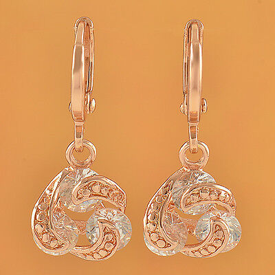 Chic Design 9K Rose Gold Filled 3-Stone whirlwind Earrings,F2474