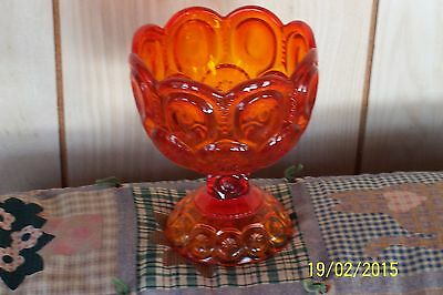 L E SMITH  VTG RUBY RED MOON+STARS CANDY/COMPOTE FOOTED VGC