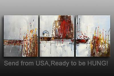 """Abstract Oil Painting Contemporary Art Deco - 60x24""""H STRETCHED Canvas"""