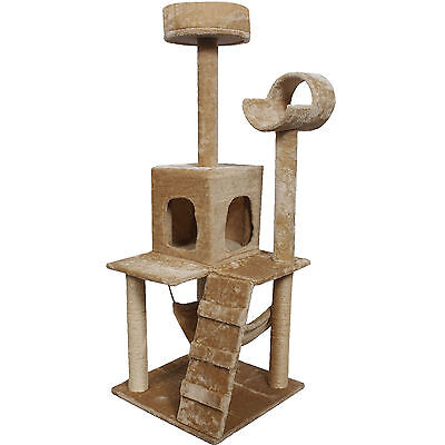 """52"""" Cat Kitty Tree Tower Condo Furniture Scratch Post Pet House Toy Bed Beige"""