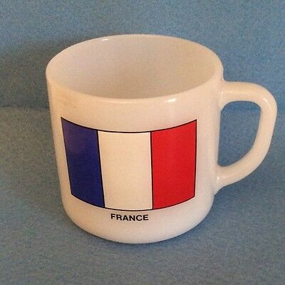 Federal Milk Glass France French Flag Mug Cup Vtg White Blue Heat Proof 9 Ounce