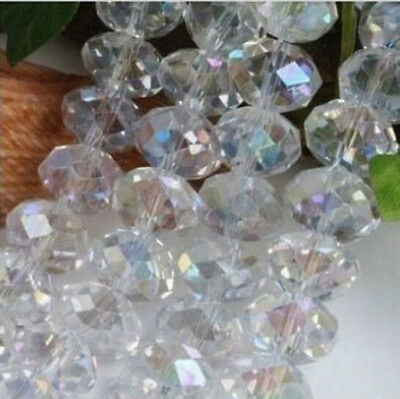 HOT 6mm(98pcs) FREE SHIPPING Loose Beads Rondelle Glass Crystal Jewelley ABwhite