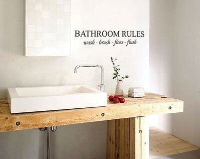 Bathroom Rules English Quote Window Car Stickers Vinyl Wall Art Decal Home Decor