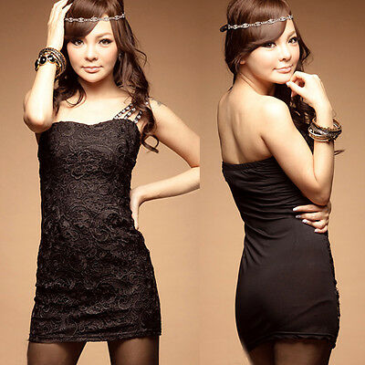 Sexy Women Lace One Shoulder Sheath Evening Clubwear Party Black Mini Dress 6535