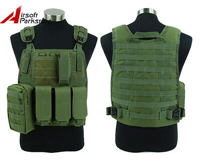 Tactical Military Swat Police Airsoft Molle Plate Carrier Combat Vest Olive Drab
