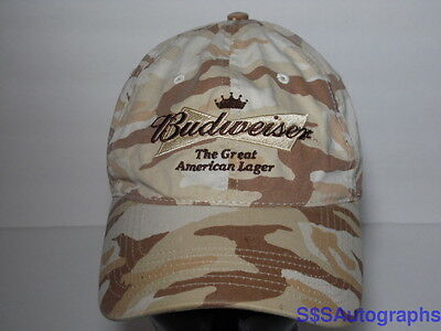 BUDWEISER BEER Great American Lager CAMO CAMOUFLAGE ADJUSTABLE ADVERTISING HAT