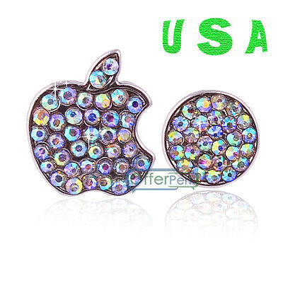 USA Shine Crystals Bling Deco Home Button Logo Sticker For iPhone 5/5S 4/4S iPod