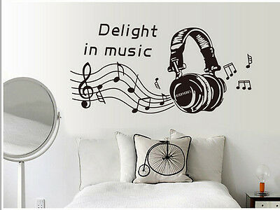 1 PC Removable Home Decor Cool Delight In Music Wall Sticker Decals Art Vinyl