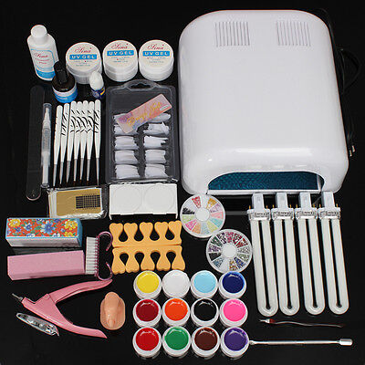 Pro Full 36W White Cure Lamp Dryer & 12 Color UV Gel Nail Art Tools Kits Sets