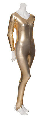 Ladies Girls Shiny Metallic Dance Long Sleeve Catsuit KDC012 All Colours By Katz