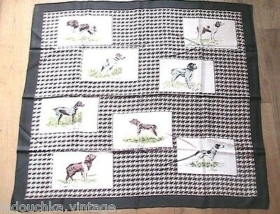 FRENCH 1950s WOMAN SILK SCARF - HUNTING DOGS -MADE IN FRANCE -DEADSTOCK- 32 x 30