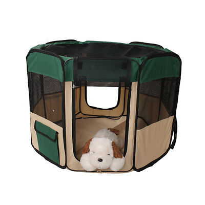 "48"" Pet Dog Kennel Exercise Pen Playpen Soft Crate Cat Feeder Fence Cage Green"