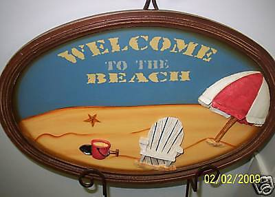 """Welcome to the Beach Oval  Wall Plaque 16"""" x 24""""  Wood   New"""