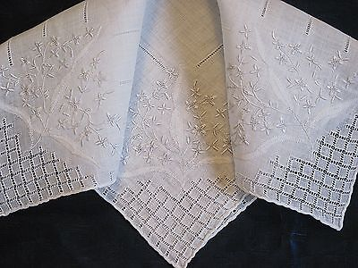 Vintage White Linen Wedding Hankie Drawn Embroidered Shadowing Rolled Edge H109