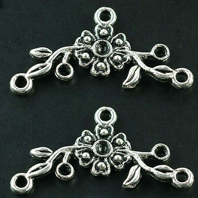 Hot 7pcs Antique Silver Flower Connectors Bails Jewerly Finding 32*16mm T0958