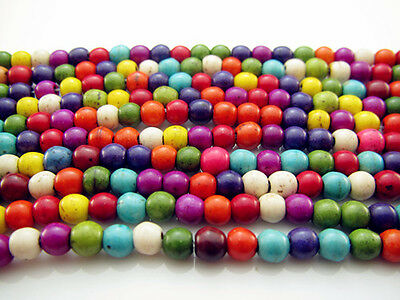 FREE 200pcs Jewelry Mixed TOP Turquoise Round Loose Beads Strand Gemstone 4MM