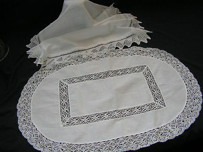 2 B'FUL VTG HAND WOKED CROCHET LACE EDGE SMALL TABLE CENTRE CLOTHS