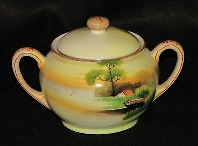 Antique Hand Painted Scenery Nippon(Noritake) Two Handled Sugar Bowl with Lid