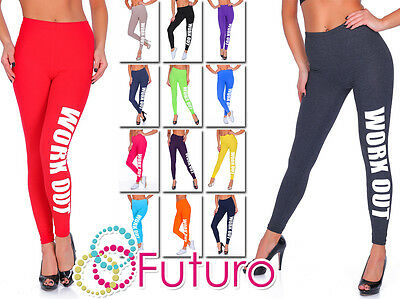 Work Out Printed Full Length Cotton Active Leggings Joggers Gym Fitness Uk Stock