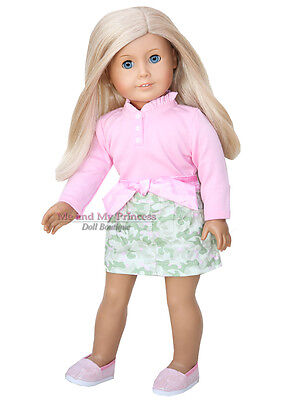 "PINK TOP + CAMO SKIRT + SHOES Outfit clothes fits 18"" American Girl Doll Only"