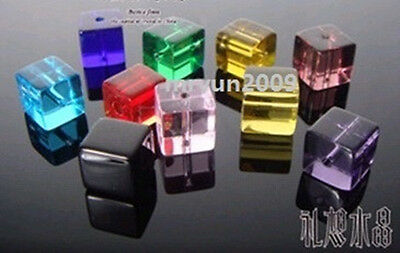 Free LOT 100pcs Glass CRYSTAL Square CUBE BEADS mixed colors Dream Beads 6x6mm