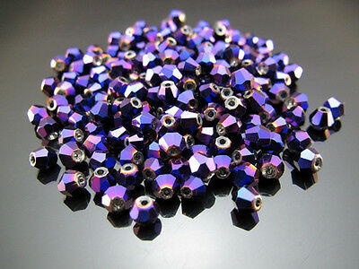 TOP 200PCS Purpl Plated Czech Crystal 31.5 Inch Biconical Spacer Loose beads 4mm