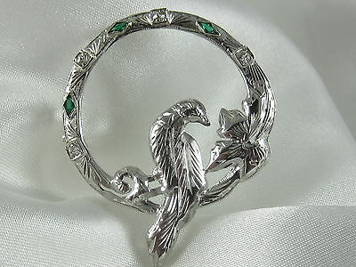 Brooch Pin Art Deco Nouveau Dove Old European Diamond Antique Estate Vintage