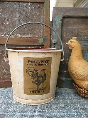 LG Early Antique Milk Pail Red and White Milk Paint Poultry for Sale Heavy Tin