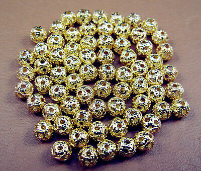 Free LOT 200PC Jewelry Design Gold plate Hollow Round spacer Beads Findings 4MM