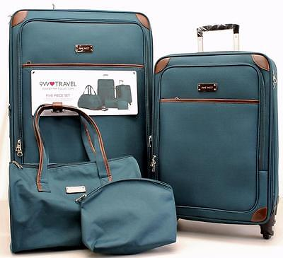 NINE WEST RENDEZVOUS 4 PIECE LUGGAGE SET GREEN EXPANDABLE SPINNER      7201