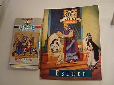 Lot of  2 Animated Stories From the Bible Esther VHS & Activity Book