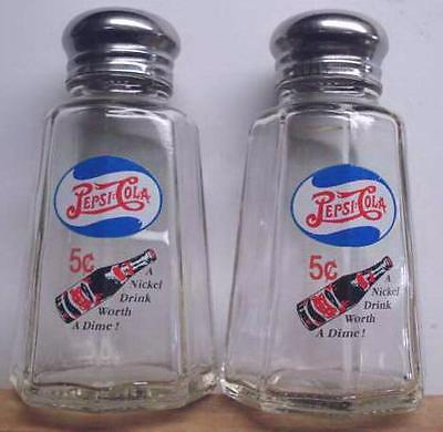 Charming Set of 2 Pepsi Cola Oval Salt and Pepper Shakers