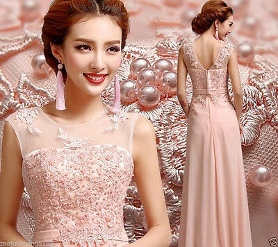 MEW Pink Long Chiffon Bridesmaid Evening Formal Party Ball Gown Prom Dress%&^