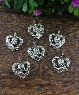 Vintage 6pcs Tibet silver Angel Heart Pendant beaded Jewelry Findings Charm